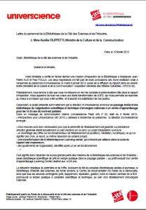 lettre BSI Ministere